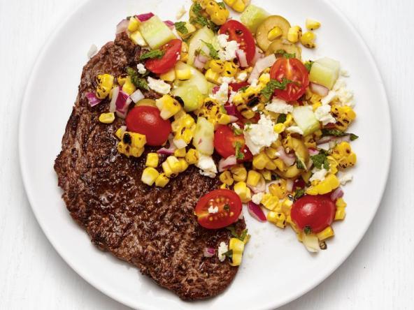 Gilled Steak with Greek Corn Salad