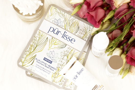 purlisse-blue-lotus-seaweed-sheet-mask-review-flatlay-barely-there-beauty